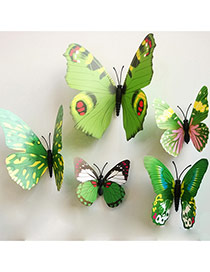 Creative Green 3d Butterfly Pattern Simple Design Wall Sticker(12pcs)  Pvc Household goods