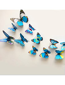 Creative Blue 3d Butterfly Pattern Simple Design Wall Sticker(12pcs)  Pvc Household goods