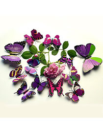 Creative Purple 3d Butterfly Pattern Simple Design Wall Sticker(12pcs) Pvc Household goods