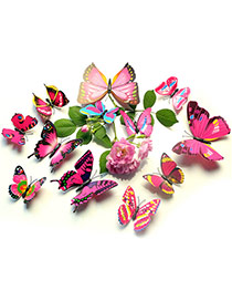 Creative Plum Red 3d Butterfly Pattern Simple Design Wall Sticker(12pcs) Pvc Household goods