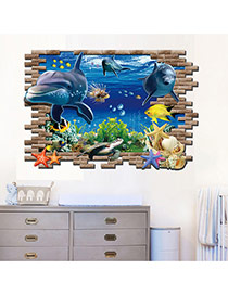 Creative Multicolor 3d Sea World Dolphin Pattern Removable Design Wall Sticker  Pvc Household goods