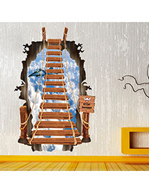 Creative Multicolor 3d Stairs&airplane Pattern Simple Design Wall Sticker