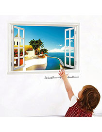 Creative Multicolor 3d Window View Removable Waterproof Design Wall Sticker  Pvc Household goods