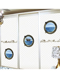 Creative Blue 3d Sea Pattern Removable Design Wall Sticker(3pcs)  Pvc Household goods