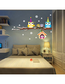 Creative Multicolor Owl&snowflake Pattern Removable Design Wall Sticker  Pvc Household goods