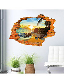 Creative Multicolor 3d Sandy Beach Pattern Simple Design Wall Sticker