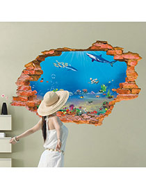Creative Blue 3d Sea World Dolphin Pattern Wall Sticker  Pvc Household goods