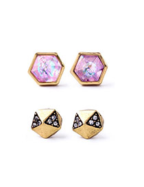 Cute Pink Diamond Decorated Geometrical Shape Design(4pcs) Alloy
