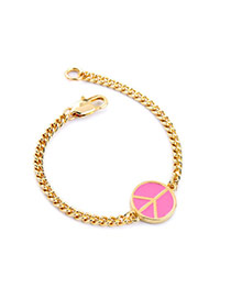 Cute Pink Round Shape Decorated Simple Design Alloy