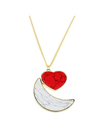 Exquisite Red+white Moon&heart Shape Pendant Decorated Simple Design