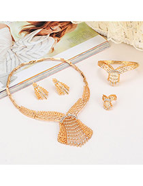 Luxury Gold Color Diamond Deocrated Hollow Out Collar Design(4pcs)