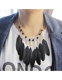 Fashion Black Feather Pendant Decorated Tassel Design Alloy Bib Necklaces