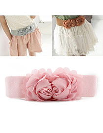 Elegant Pink Double Flower Decorated Pure Color Design  Leather Wide belts