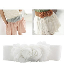 Elegant White Double Flower Decorated Pure Color Design  Leather Wide belts