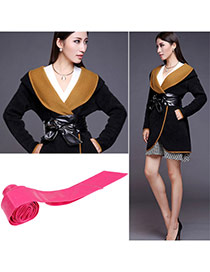 Fashion Plum Red Pure Color Swallow Tail Shape Design  Leather Wide belts