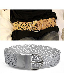 Retro Silver Color Pure Color Hollow Out Flower Design  Alloy Wide belts