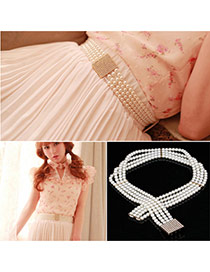 Retro White Pearl Weave Decorated Three Layer Design  Alloy Wide belts