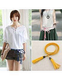 Retro Yellow Rope Weave Pure Color Taseel Pendant Design  Alloy Thin belts