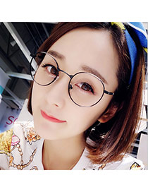 Retro Black Round Shape Frame Decorated Thin Leg Design Alloy Fashon Glasses