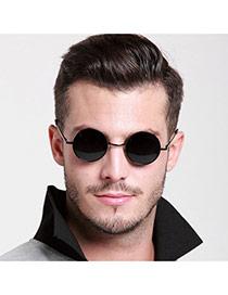 Fashion Black Round Shape Frame Decorated Thin Leg Design  Alloy Women Sunglasses