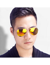 Fashion Yellow Panda Eyes Shape Frame Decorated Simple Design