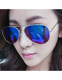 Fashion Blue Panda Eyes Shape Frame Decorated Simple Design