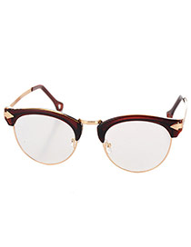 Fashion Tawny Half Frame Decorated Arrow Leg Design Alloy Fashon Glasses