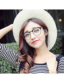 Fashion Tawny Metal Decorated Half Frame Design Alloy Fashon Glasses
