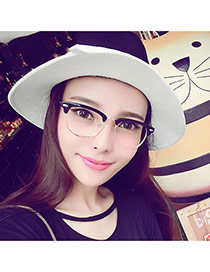 Fashion Black Metal Decorated Half Frame Design Alloy Fashon Glasses
