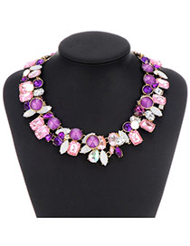 Fashion Purple+pink Diamond Matching Decorated Double Layer Design