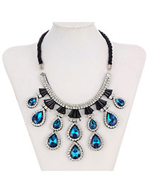 Trending Blue Water Drop Diamond Decorated Fake Collar Design