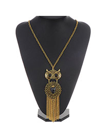 Retro Gold Color Owl Pendant Decorated Tassel Design