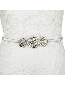 Fashion Silver Color Rose Shape Decorated Simple Design  Alloy Thin belts