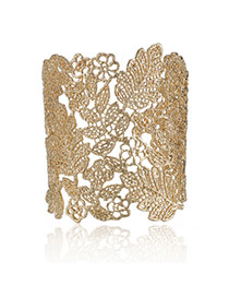 Personality Gold Color Leaf Pattern Decorated Hollow Out Design