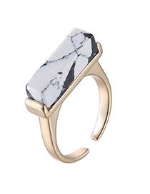 Retro White Rectangle Shape Decorated Opening Design Alloy Fashion Rings