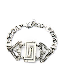Fashion Silver Color Triangle Gemstone Decorated Hollow Out Design Alloy
