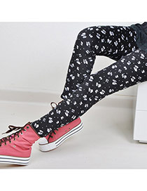 Fashion Black Butterfly Pattern Decorated Simple Design  Mirco Velvet Trousers
