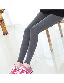 Fashion Gray Pure Color Simple Design  Cotton Trousers