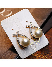 Trendy Gold Color Pearl Decorated Bowknot Shape Design