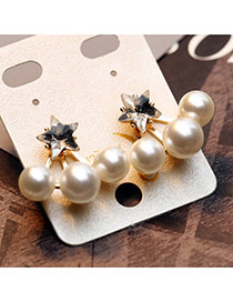 Trendy Gold Color Pearl Decorated Star Shape Design