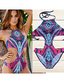 Sexy Multi-color Geometric Shape Pattern Decorated Swimwear