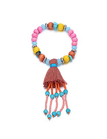 Fashion Multi-color Tassel Pendant Decorated Beads Chain Design  Alloy Fashion Bracelets
