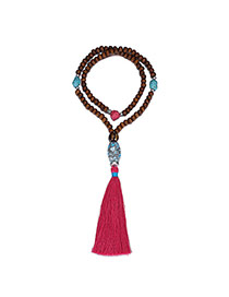 Vintage Plum Red Long Tassel Pendant Decorated Ceramic Design Beads Beaded Necklaces