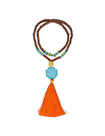 Ethnic Orange Tassel Pendant Decorated Beads Chain Design Wooden Beaded Necklaces