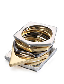 Fashion Multi-color Irregular Geometrical Multilayer Design  Alloy Fashion Rings