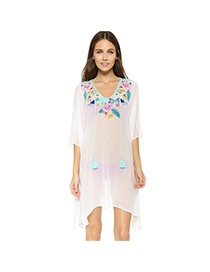 Sexy White Tassel Decorated Embroidered V-neck Design Bikini Cover Up Smock