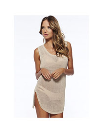 Sexy Beige Pure Color Sleeveless Hollow Out Design Bikini Cover Up Smock