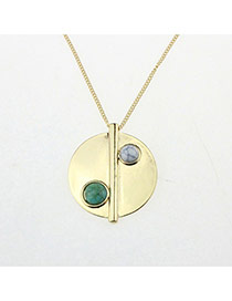 Trendy Gold Color Round Pendant Decorated Simple Design