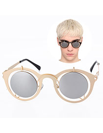 Retro Silver Color Round Shape Frame Hollow Out Design Acrylic Women Sunglasses