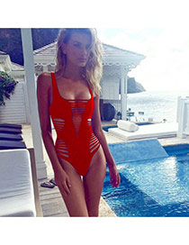 Trendy Red Pure Color Hollow Out One-piece Design  Polyester Monokini